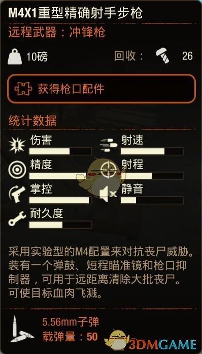 《腐烂国度2》M4X1重型精确射手步枪属性分享
